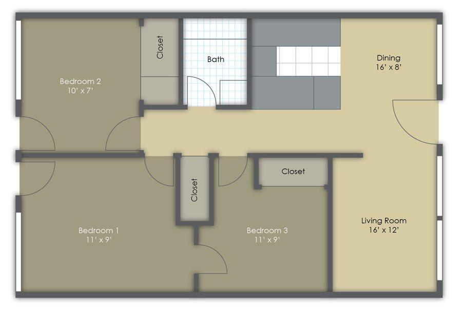 Three Bedroom One Bath Floor Plan 4