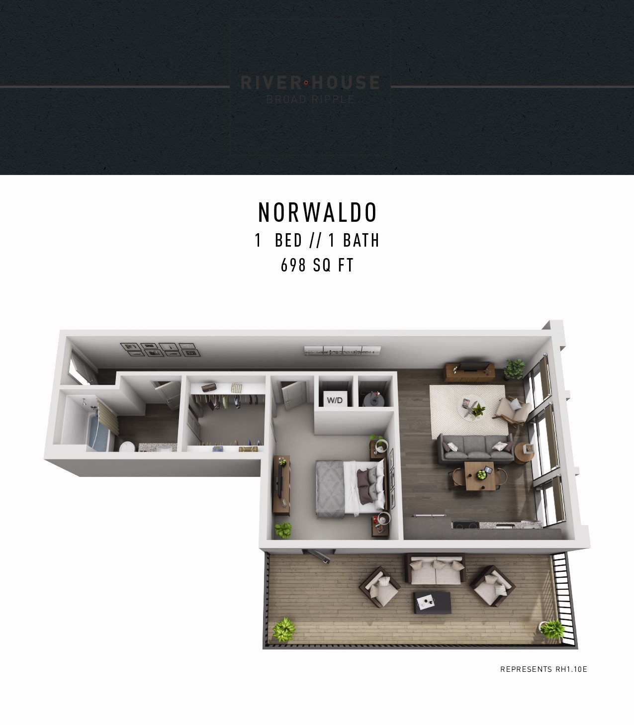 River House Apartments in Broad Ripple - One Bedroom Apartment