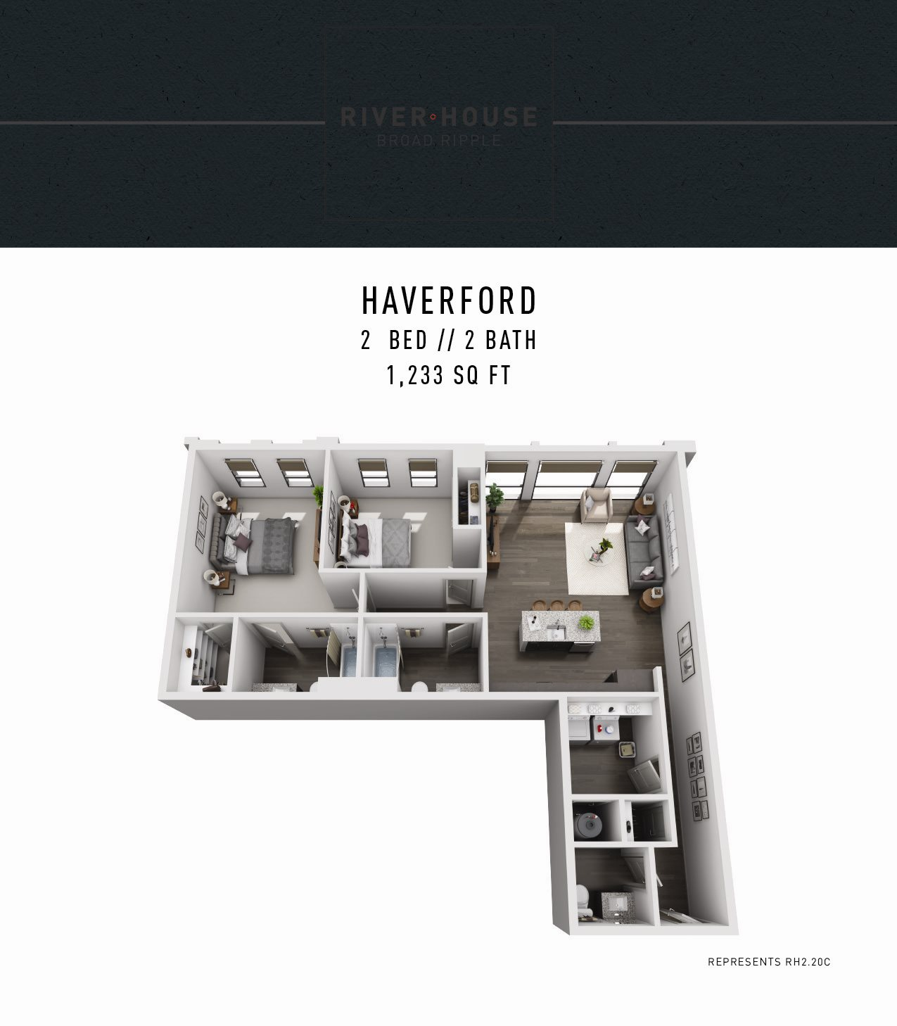 River House Apartments in Broad Ripple - Two Bedroom Apartment