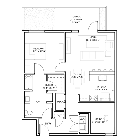 B1-A 1+Study Accessible Floor Plan 6