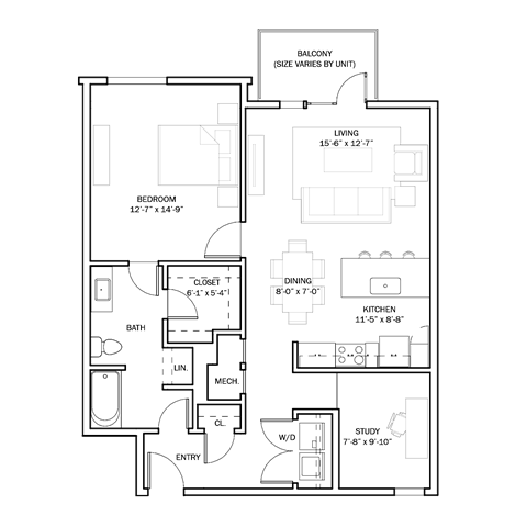 B1 - 1+Study Floor Plan 7