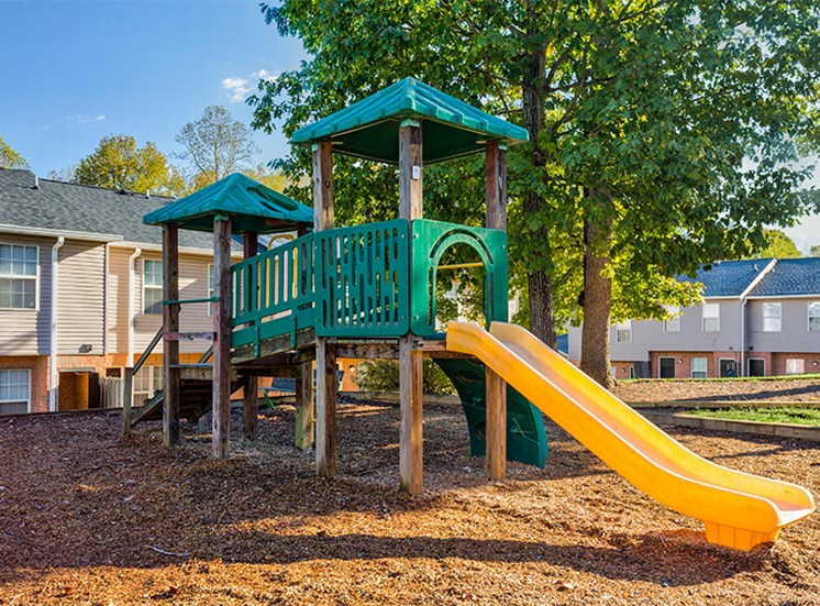 Playground with slide and climbing course at Bethabara Pointe