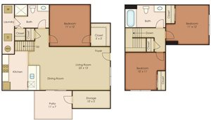 Floorplan at Paseo Del Sol Townhomes, 6280 S. Campbell Avenue, Tucson, AZ