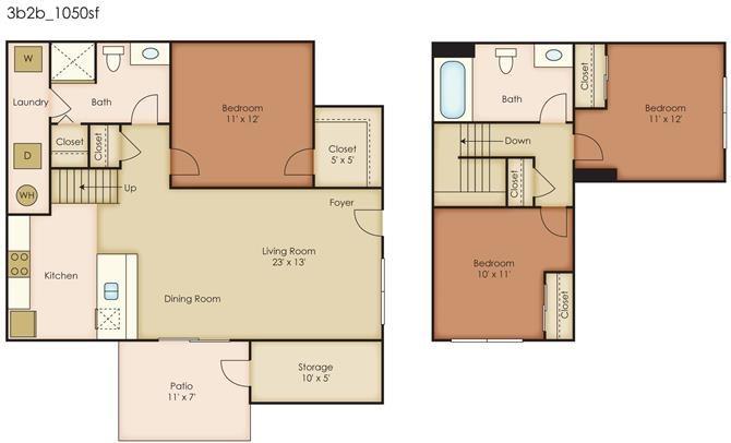Floorplan at Paseo Del Sol Townhomes, 6280 S. Campbell Avenue, Tucson, AZ