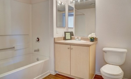 Spacious Bathroom with Cabinet at The Colony Apartments, 351 N Peart Rd, Casa Grande, AZ