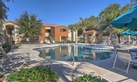Pool & Outdoor Entertainment Area at The Colony Apartments, 351 N Peart Rd