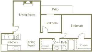 Egret Floor Plan at Center Point Apartment Homes in Raleigh, North Carolina, NC