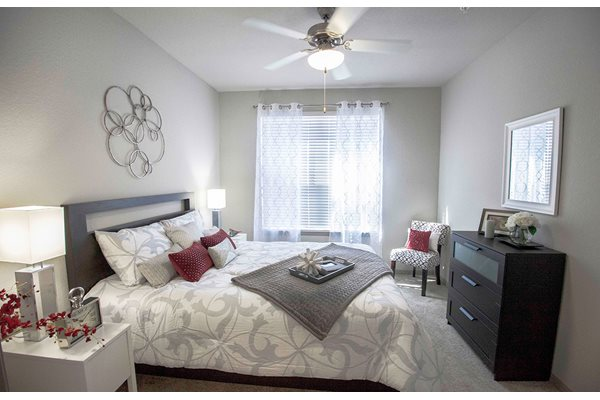 Ceiling fan in the spacious bedroom at Anson at Palmer Ranch in Sarasota, FL.
