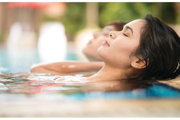 Women relaxing in the spa at Anson on Palmer Ranch in Sarasota, 34238.