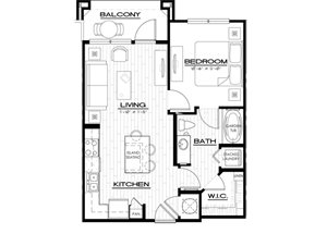 A1 Floor Plan, 639 square feet, with one bedroom, one bath at Anson on Palmer Ranch in Sarasota, FL.