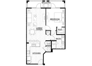 A2 Floor Plan, with one bedroom, one bathroom 828 square feet apartment at Anson on Palmer Ranch in Florida.