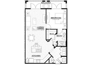 A4A Floor Plan, with one bedroom, one bathroom,  865 square feet at Anson on Palmer Ranch in Sarasota, FL.