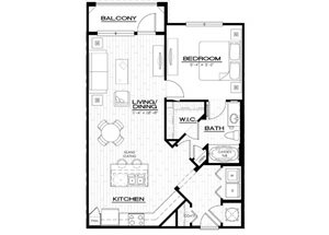 A4 Floor Plan, with one bedroom, one bathroom, 847 square feet  at Anson on Palmer Ranch Apartments, in Fl. 34238.