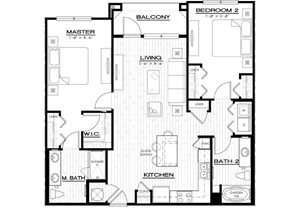 B1A Floor Plan, two bedroom, two bathroom, 1152 square feet in Florida, 34238.