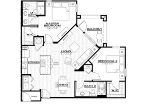 B2 Floor Plan, with 1128 square feet, two bedroom, 2 bathroom, at Anson on Palmer Ranch apartments in Sarasota, FL.