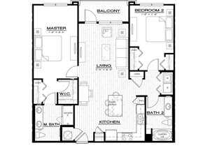 B4 Floor Plan, two bedroom, two bath, 1202 square foot apartment at Anson on Palmer Ranch at 6201 Sawyer Loop Road.