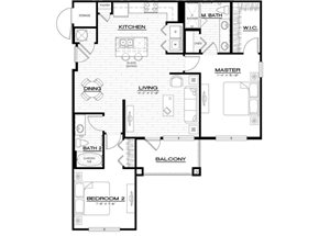 B5 Floor Plan, 1159 square foot apartment at Anson on Palmer Ranch in Florida, with two bedroom, 2 bathroom.