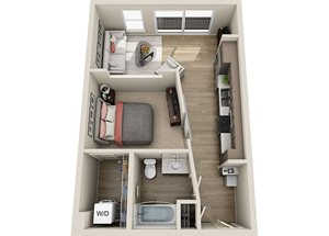 A1 Floor Plan, 595 square feet one bedroom one bath apartment at BDX at Capital Village in California.