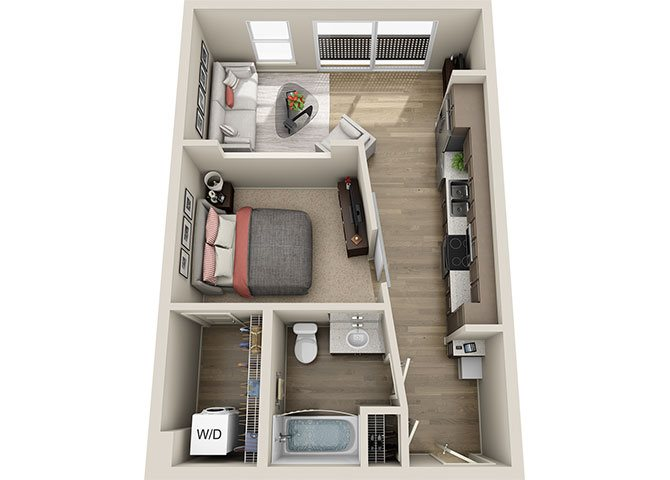 A1 1 Bedroom 1 Bath Floor Plan, 595 square feet one bedroom one bath apartment at BDX at Capital Village in California.