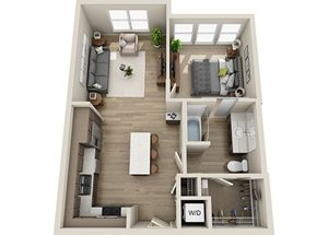 A2 Floor Plan, 690 square feet one bedroom one bathroom apartment at BDX at Capital Village in Rancho Cordova.