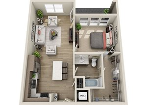 A4 Floor Plan, 821 square feet one bedroom one bathroom apartment at BDX at Capital Village,  95670.