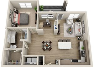 A5 Floor Plan, 947 square feet one bedroom one bathroom apartment in Rancho Cordova, CA at BDX at Capital Village.