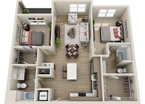 B1 Floor Plan, 1059 square feet two bedroom two bathroom apartment at BDX at Capital Village in Rancho Cordova, 3175 Data Drive.