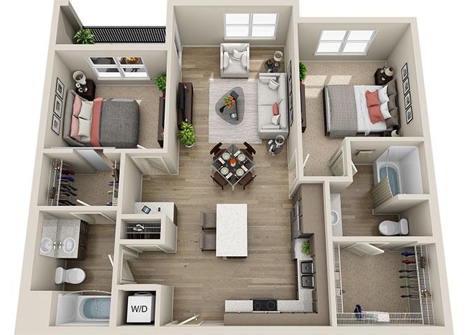 B1 2 Bedroom 2 Bath Floor Plan, 1059 Square Feet Two Bedroom Two Bathroom  Apartment