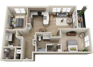 B2/B3 Floor Plan, 1182-1213 square feet two bedroom two bathroom apartment in Rancho Cordova, at BDX at Capital Village.
