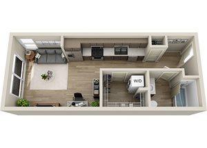 S1 Floor Plan, 490 square feet studio at BDX at Capital Village in Rancho Cordova, CA.
