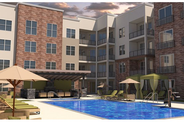 Relaxing heated salt water swimming pool, spa, and cabanas at BDX at Capital Village apartments in Rancho Cordova, CA