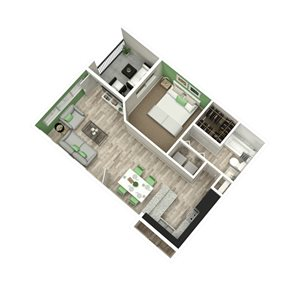 The Metropolitan Apartments in Augusta, GA 30909 1br 1ba floor plan 675 sq ft