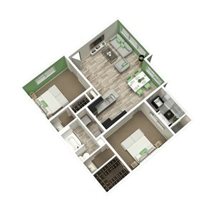 The Metropolitan Apartments in Augusta, GA 30909 2br 1ba floor plan 950 sq ft
