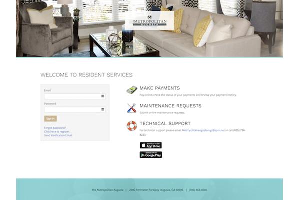 Online resident portal at Metropolitan Augusta, in Augusta, Georgia