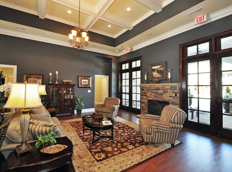 Legends at Oak Grove Apartment Homes Knoxville, TN 37918 clubhouse with fireplace and comfortable seating