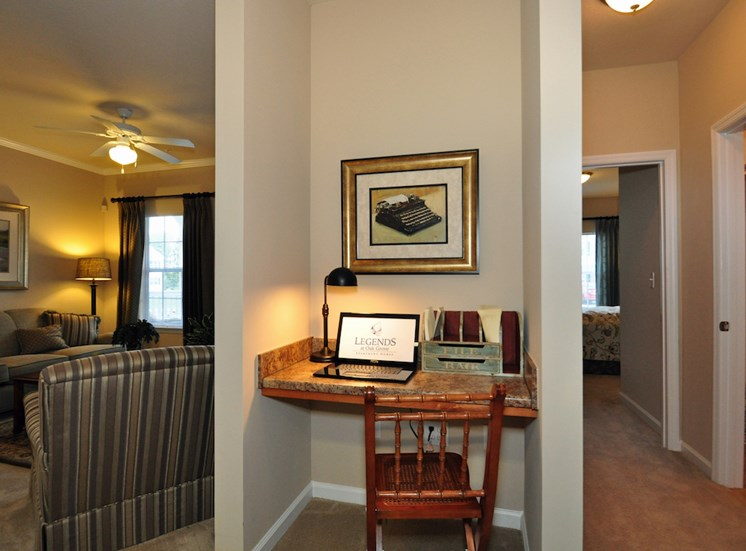 Legends at Oak Grove Apartment Homes Knoxville, TN 37918 computer nook with built in desk