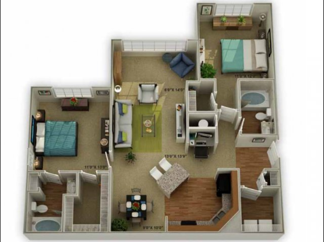 Legends at Oak Grove Apartment Homes Knoxville, TN 37918 Brookstone with Sunroom 2br 2ba floor plan