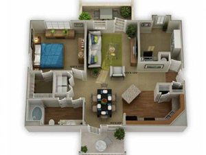 Legends at Oak Grove Apartment Homes Knoxville, TN 37918 Carriage with garage 1br 1ba floor plan