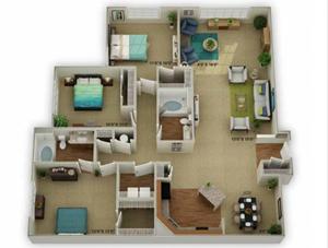 Legends at Oak Grove Apartment Homes Knoxville, TN 37918 Legend w Sunroom 3br 2ba floor plan