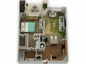 Legends at Oak Grove Apartment Homes Knoxville, TN 37918 Meadowview 1br 1ba floor plan