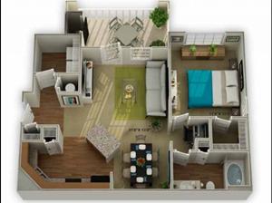Legends at Oak Grove Apartment Homes Knoxville, TN 37918 Oakwood 1br 1ba floor plan