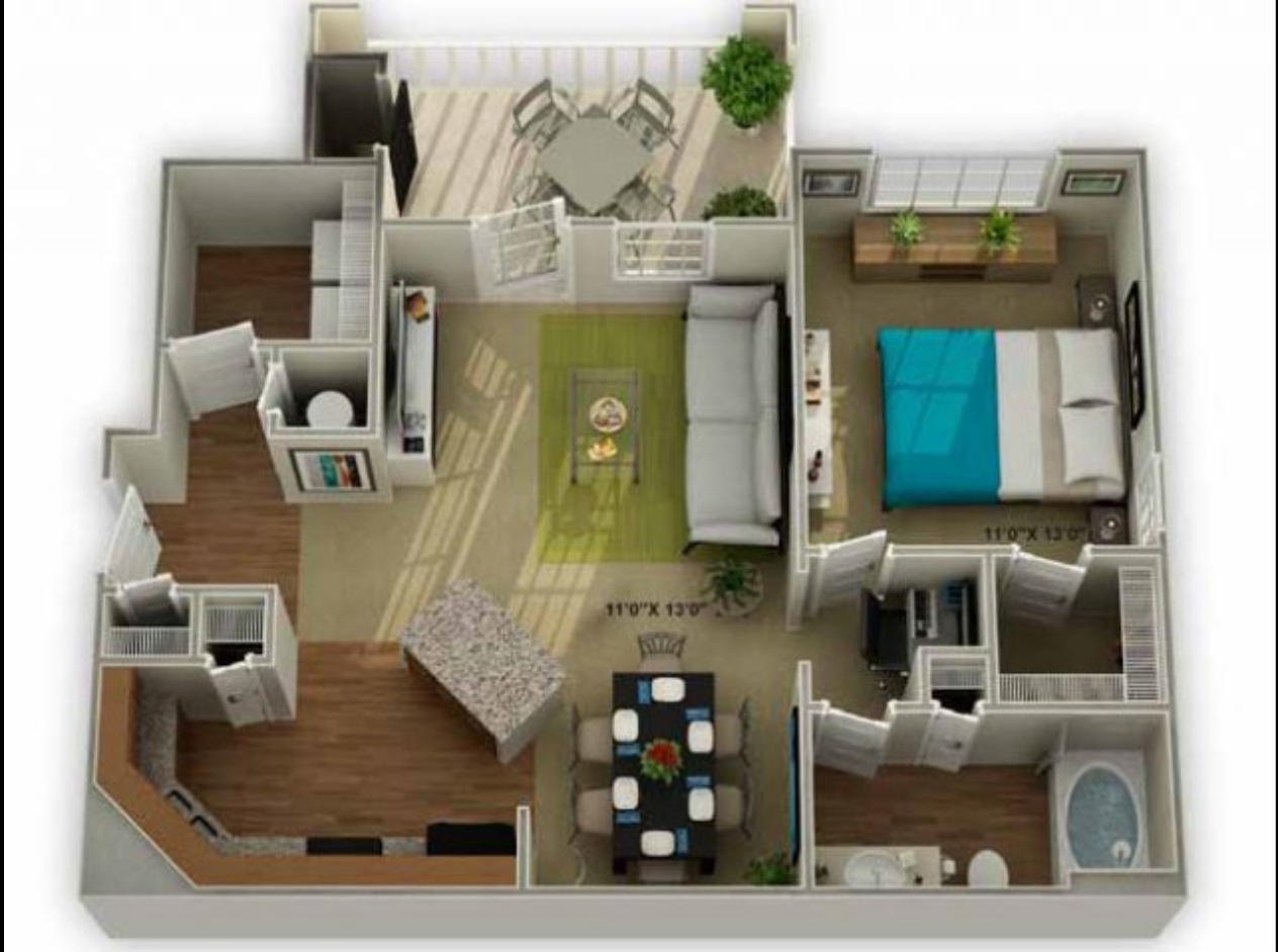 Legends at Oak Grove Apartment Homes Knoxville, TN 37918 Oakwood 1br 1ba floor plan