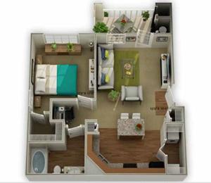 Legends at Oak Grove Apartment Homes Knoxville, TN 37918 Ridgecrest 1br 1ba floor plan