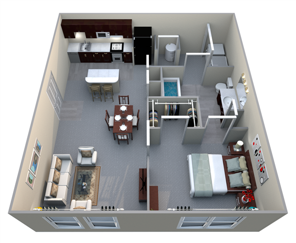 A1 1 Bed/1 Bath Floor Plan 1