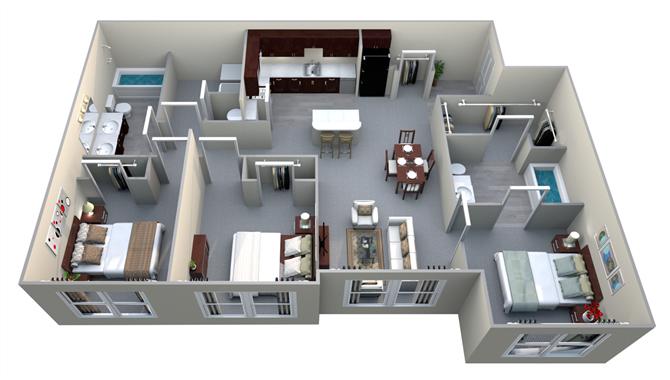 C1 3 Bed/2 Bath Floor Plan 3