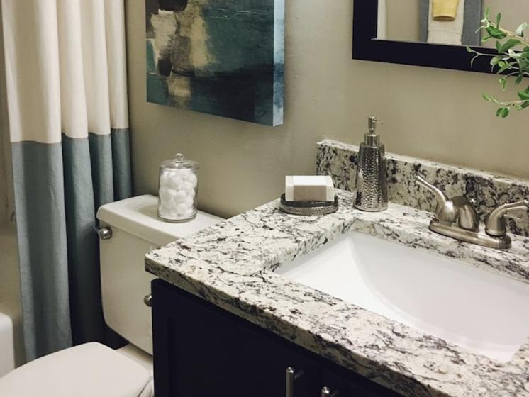 Terraces at Summerville Apartments in Augusta, GA 30904 granite countertops in bathroom with brushed nickel fixtures
