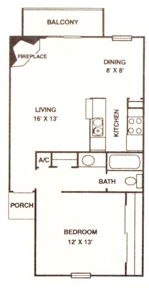 1 Bedroom/ 1 Bath B