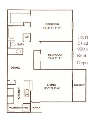 2 Bedroom/1 Bath D