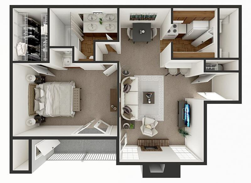 one bed one bath apartment floor plan