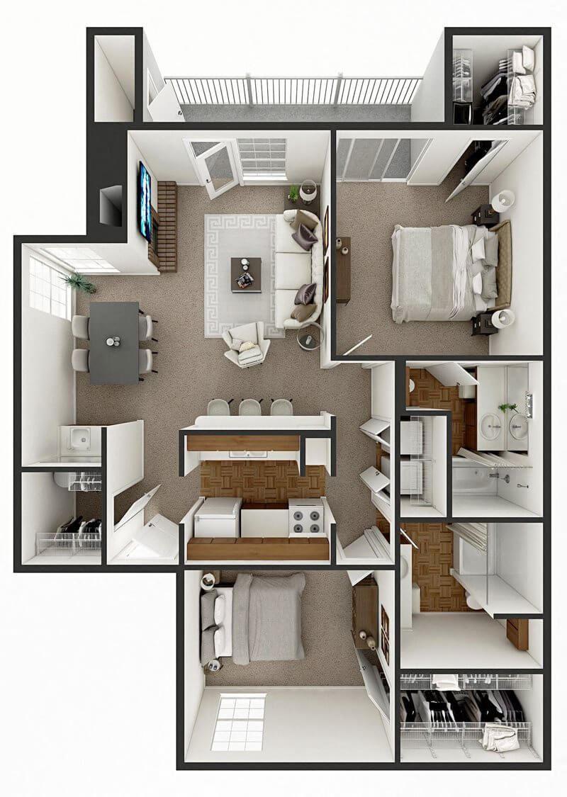 2 bed apt floor plan